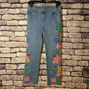 Lilly Pulitzer Floral Embroidered Jeans Size 6
